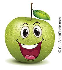 smiley, apfel, glücklich