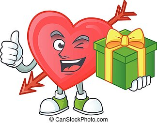 Smiley arrow love character with gift box