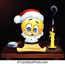 Smiley as Santa Clause reading letters from children