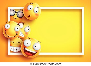 Smiley background vector template with yellow funny smileys