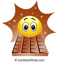 Smiley ball enjoying in sweet chocolate