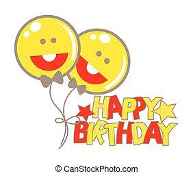 smiley, ballons, anniversaire, heureux