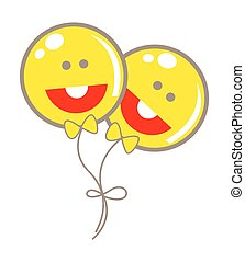 smiley, ballons, heureux