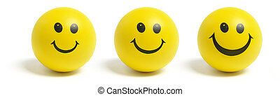 Smiley Balls on Isolated White Background