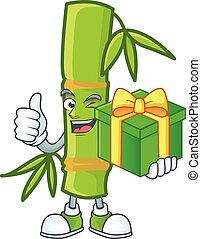 Smiley bamboo stick character with gift box