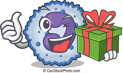 Smiley basophil cell character with gift box. Vector ...