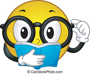 Illustration of a Glasses Wearing Smiley Reading a Book