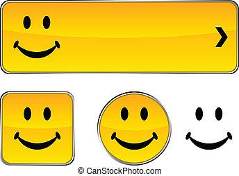 smiley, botão, set.
