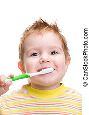smiley boy cleans a teeth isolated