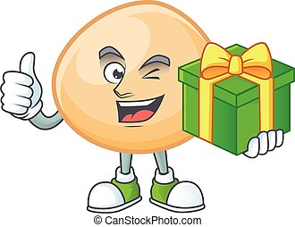Smiley brown hoppang character with gift box