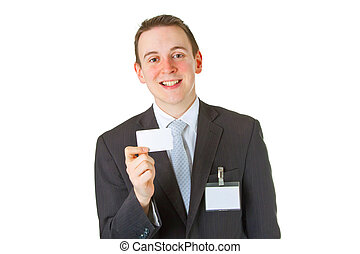 Smiley businessman showing business card
