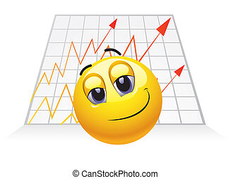 Smiley Businessman with chart growth and big smile