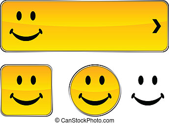 Smiley button set. - Smiley web buttons. Vector illustration...