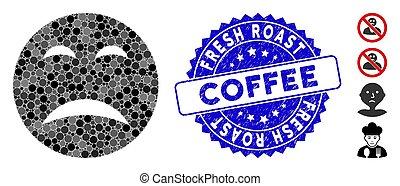 smiley, café, pitié, mosaïque, rôti, frais, icône, timbre, détresse