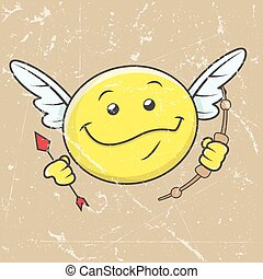 smiley, caractère, cupidon, heureux