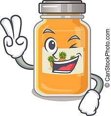 smiley, caricatura, abacaxi, dedos, dois, geleia, personagem, mascote
