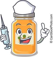 smiley, caricatura, abacaxi, personagem, siringa, enfermeira, geleia