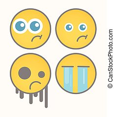 smiley, caricatura, desgosto, vectors