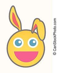 smiley, -, caricatura, vetorial, rosto, coelhinho