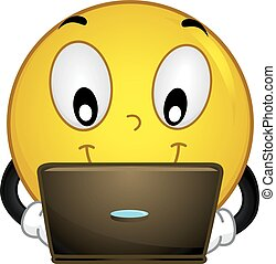 Mascot Illustration of a Smiley while busy checking his laptop