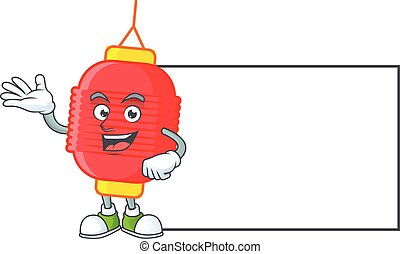 Smiley chinese lantern with whiteboard cartoon character design