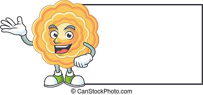 Smiley chinese mooncake with whiteboard cartoon character design