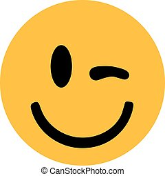 smiley, cligner, jaune