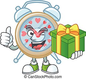 Smiley clock love character with gift box