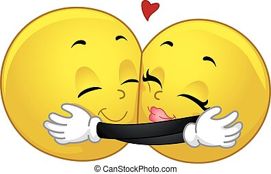 Smiley Couple Hug - Mascot Illustration of a Pair of Smileys...