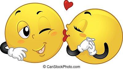 Smiley Couple Kiss
