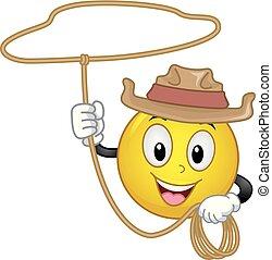 Smiley Cowboy Rope Illustration