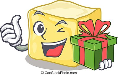 Smiley creamy butter character with gift box