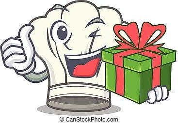 smiley, cuisinier, boîte, caractère, chapeau, cadeau