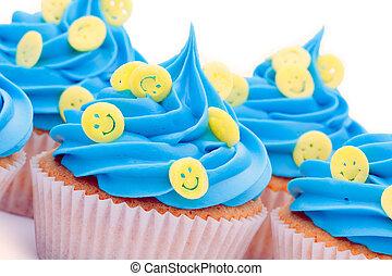 smiley, cupcakes, cara