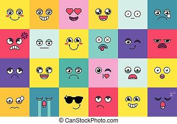 Smiley, cute emoji sticker set