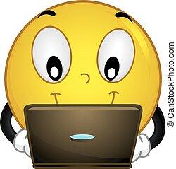 smiley, czek, jego, laptop