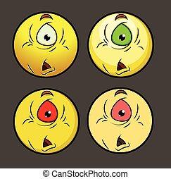 smiley, désordre, une, étranger, observé, emoji