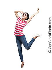 Smiley dancing teenager