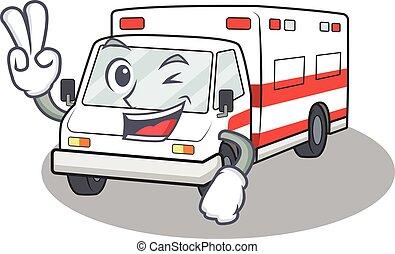 smiley, dedos, mascota, carácter, ambulancia, caricatura, ...