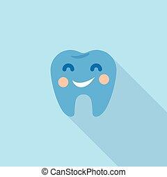 smiley, dente, logotipo, ícone, apartamento, estilo
