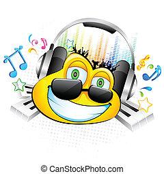 smiley, desfrutando, música