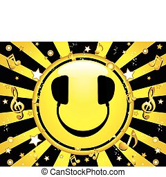 smiley, dj, party, hintergrund