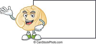 Smiley dumpling with whiteboard cartoon character design