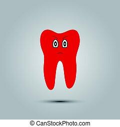 smiley, em, dente