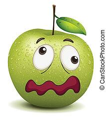 smiley, embotado, manzana