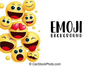 Smiley emoji background vector template. Emoji background text in white empty space for messages with emoticon smiley happy, naughty and surprise facial expression.