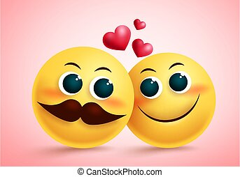 Smiley emoji couple in love vector design. Yellow cute emojis lovers character with blush face and heart element.