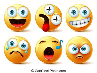 Smiley emoji face vector set. Smileys emojis or emoticon cute faces
