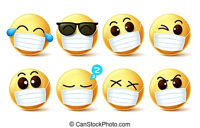 Smiley emoji facemask vector set. Smiley emoji with covid-19...