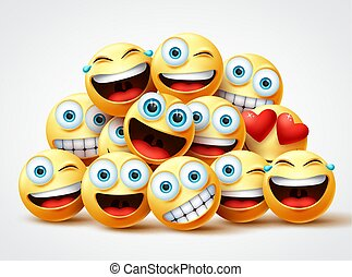 Smiley emoji faces group vector design. Smileys emojis yellow circle face group with cute, laughing, funny, surprise and happy emotions.